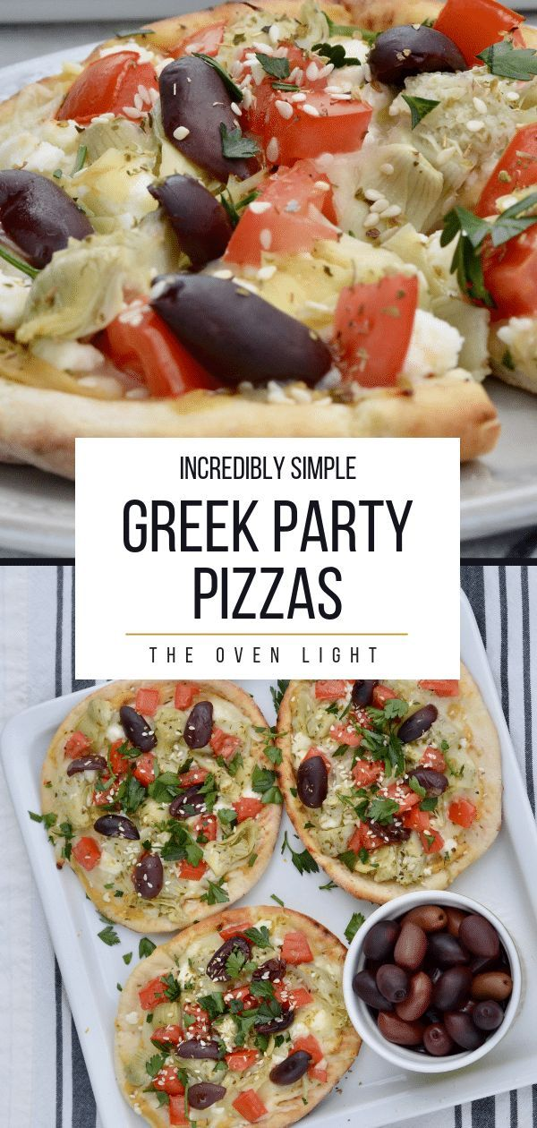 Simple Greek Pizza  Vegetarian Lunch or Appetizer  The Oven Light Greek Party Pizzas  Incredibly simple to throw together this summer Hummus feta artichokes tomatoes oliv...