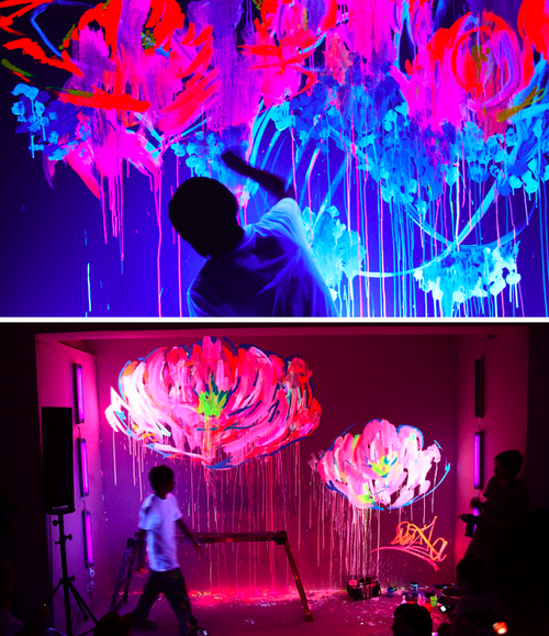 neon art exit thru the gift shop pinterest peinture phosphorescente animation mariage et. Black Bedroom Furniture Sets. Home Design Ideas