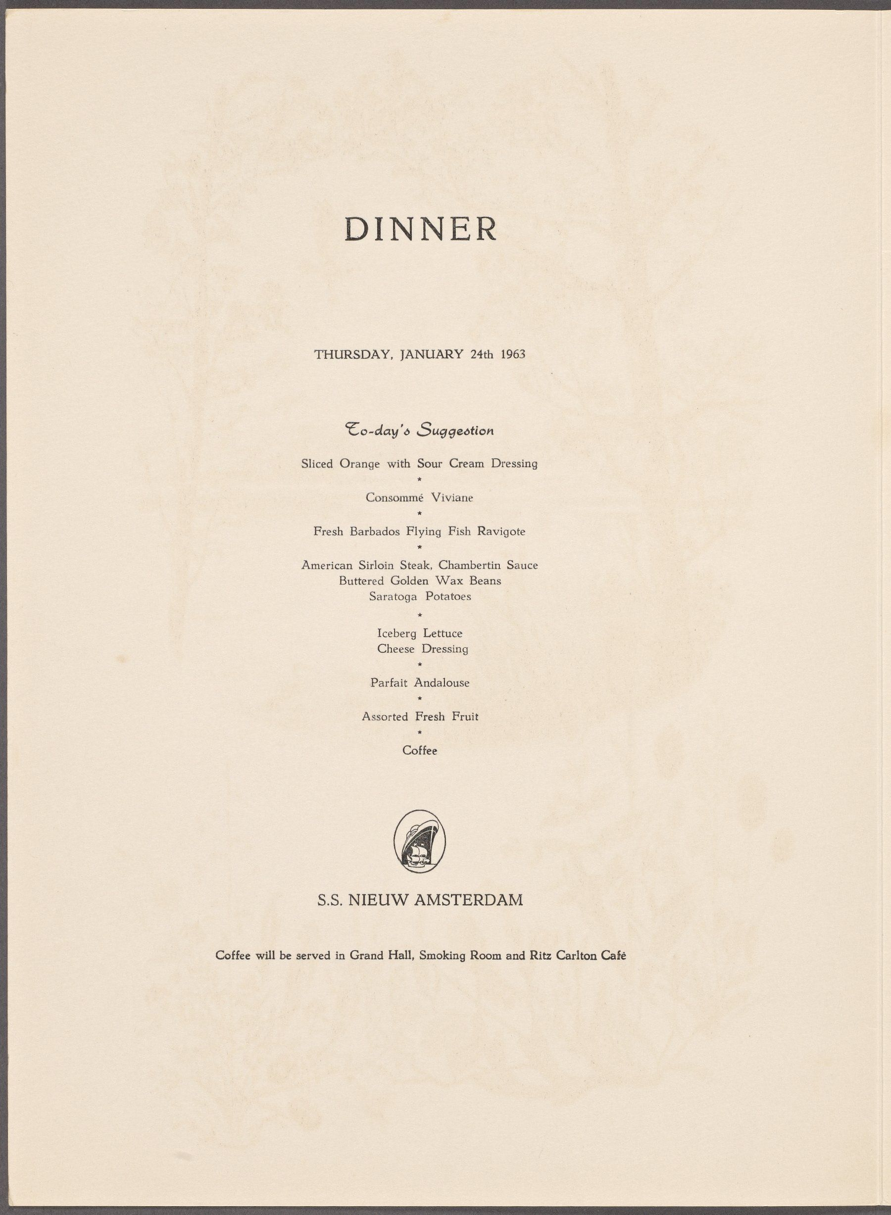 Ss nieuw amsterdam january 24 1963 menus pinterest menu and ss nieuw amsterdam january 24 1963 publicscrutiny Image collections