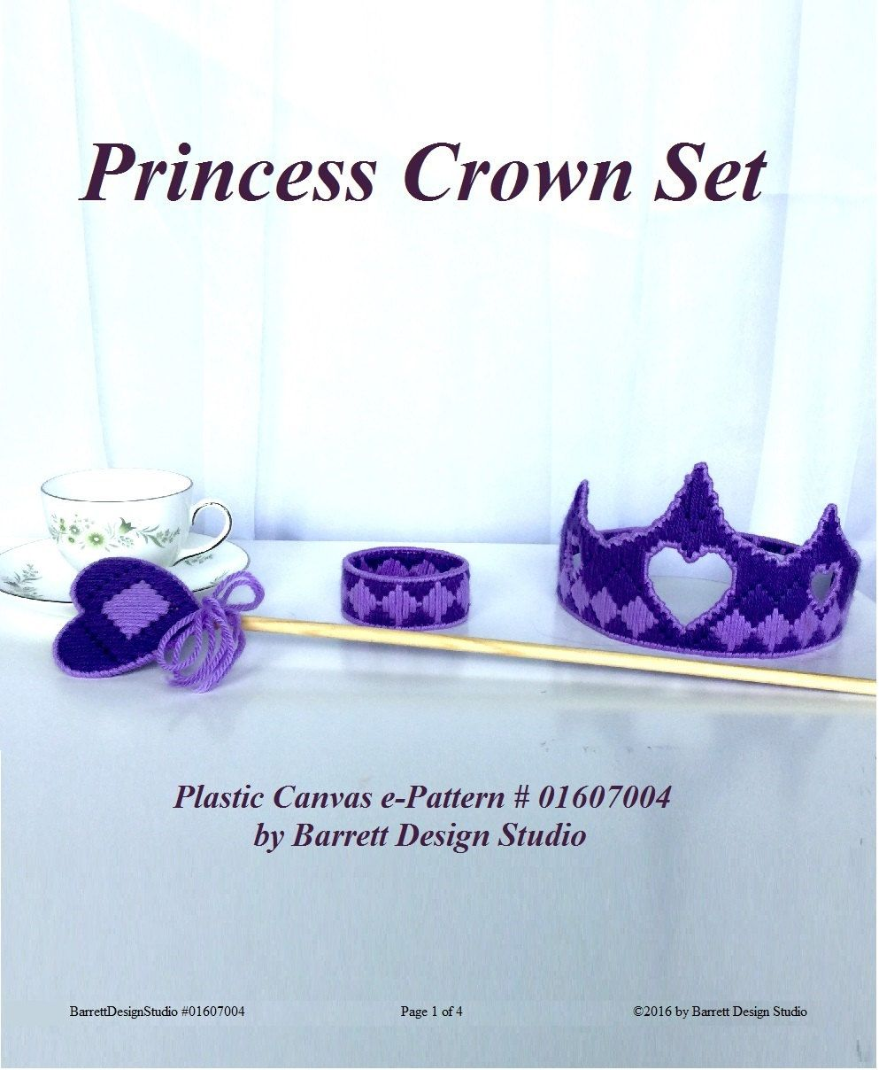 Plastic Canvas Pattern Pdf Princess Crown Purple Dressup Kids Play Queen Royal Magic Wand Scept Plastic Canvas Patterns Plastic Canvas Plastic Canvas Christmas