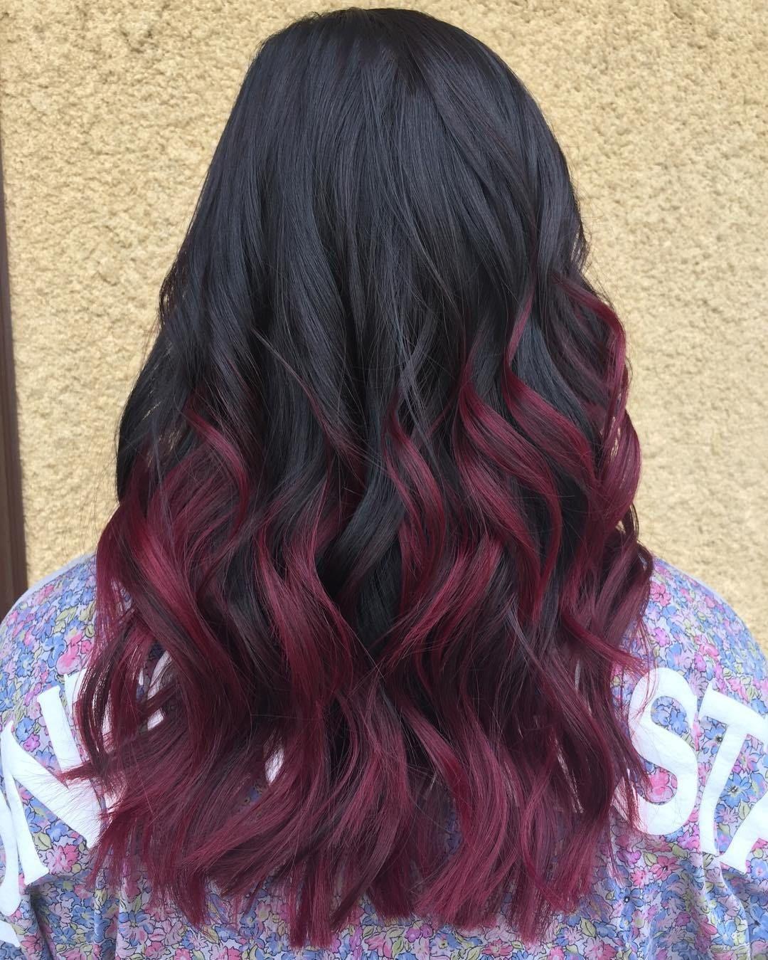 Black Hair Maroon Streaks Sexy Hair Hairstyle Natural Hair In