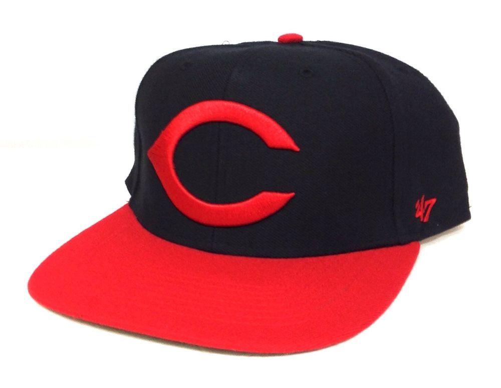factory price e7bb3 eac80 Fitted-Size 7-1 2 CINCINNATI REDS FLAT-BILL HAT Black Red 47-Brand  Men Women Cap