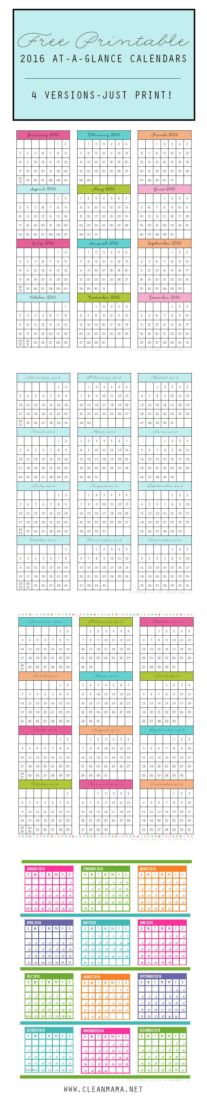 free 2016 at a glance calendars time management to do lists