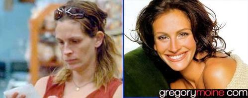 Plus Belle Femme Du Monde Sans Maquillage Les Stars Avant Apres Le Maquillage Julia Roberts Maquillage Star Avant Apres