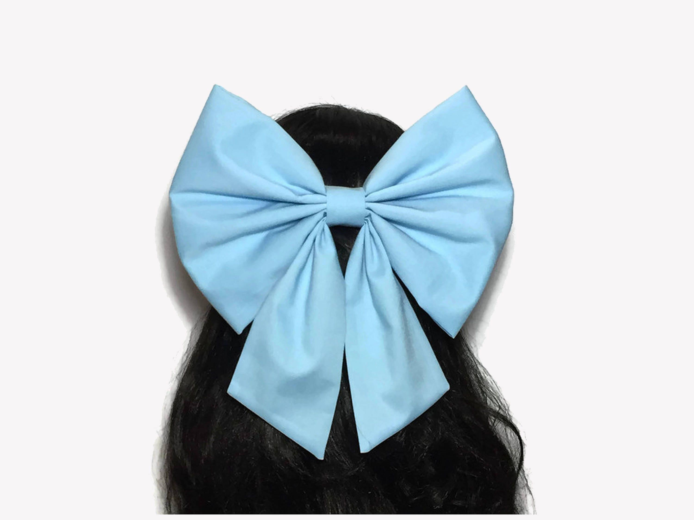 """BLUE HANDMADE LARGE 5.5/"""" HAIR RIBBON BOW GIRL KIDS CHILDREN BABY ALLIGATOR CLIP"""