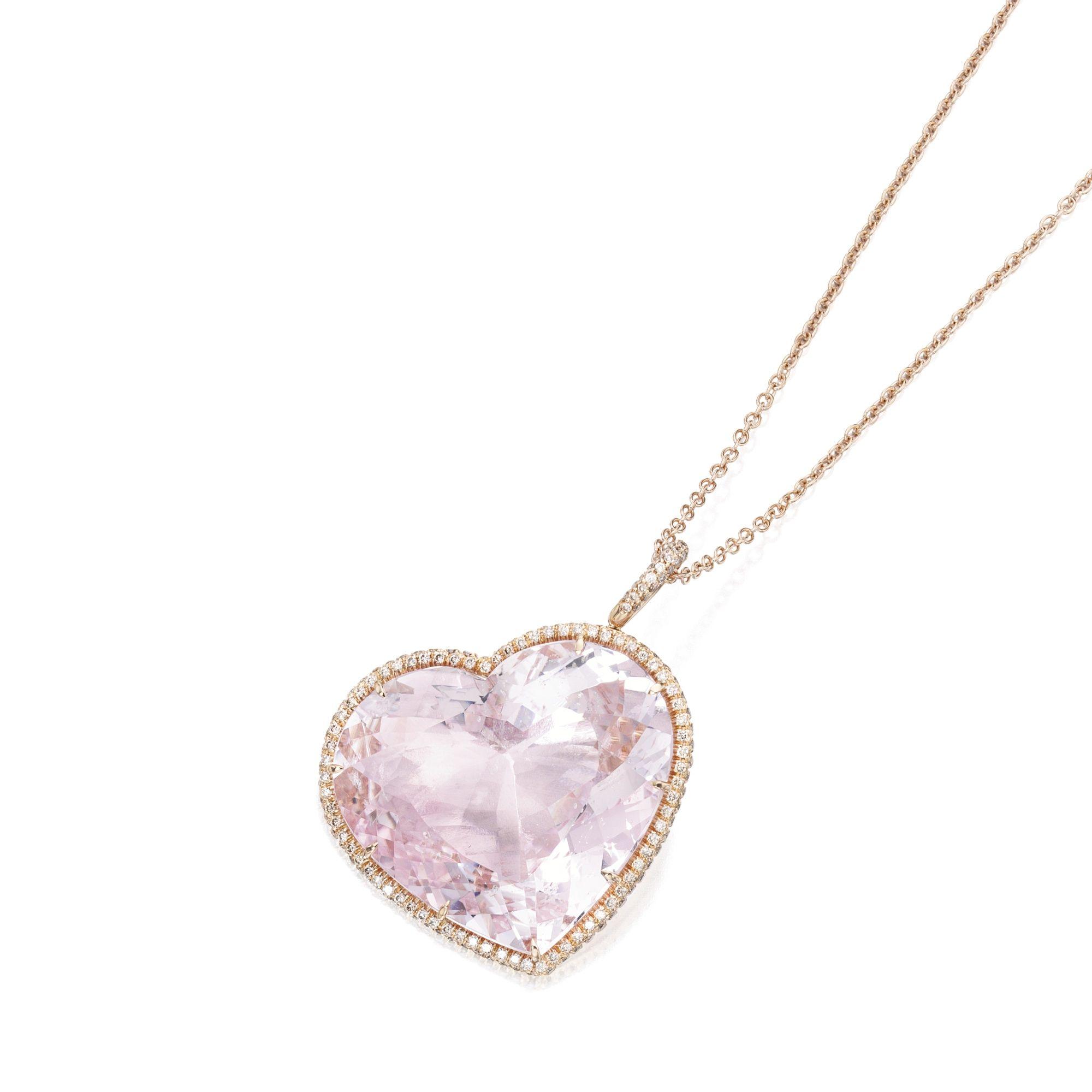 18 CARAT ROSE GOLD, MORGANITE AND COLORED DIAMOND PENDANT-NECKLACE, MARGHERITA BURGENER