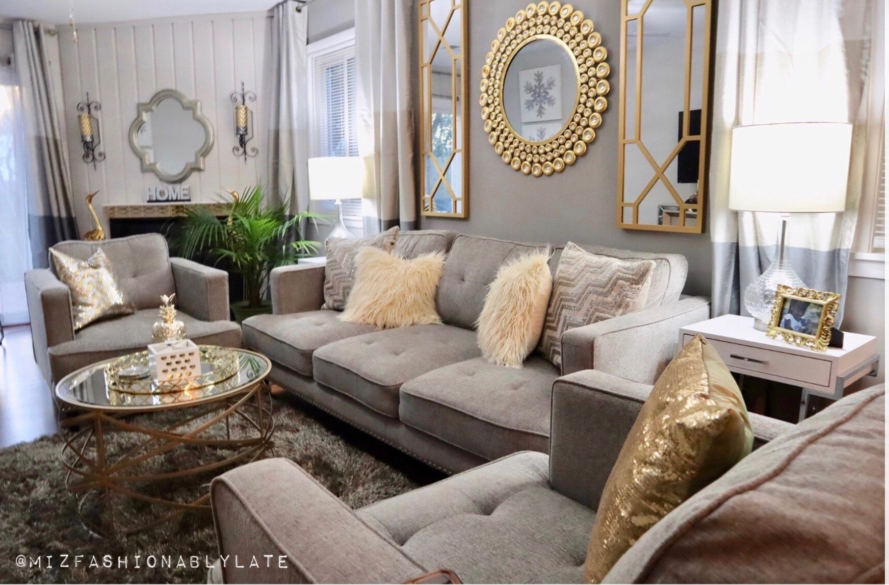Grey Silver Gold Small Glam Living Room Inspiration Gold Living Room Decor Living Room Grey Glam Living Room