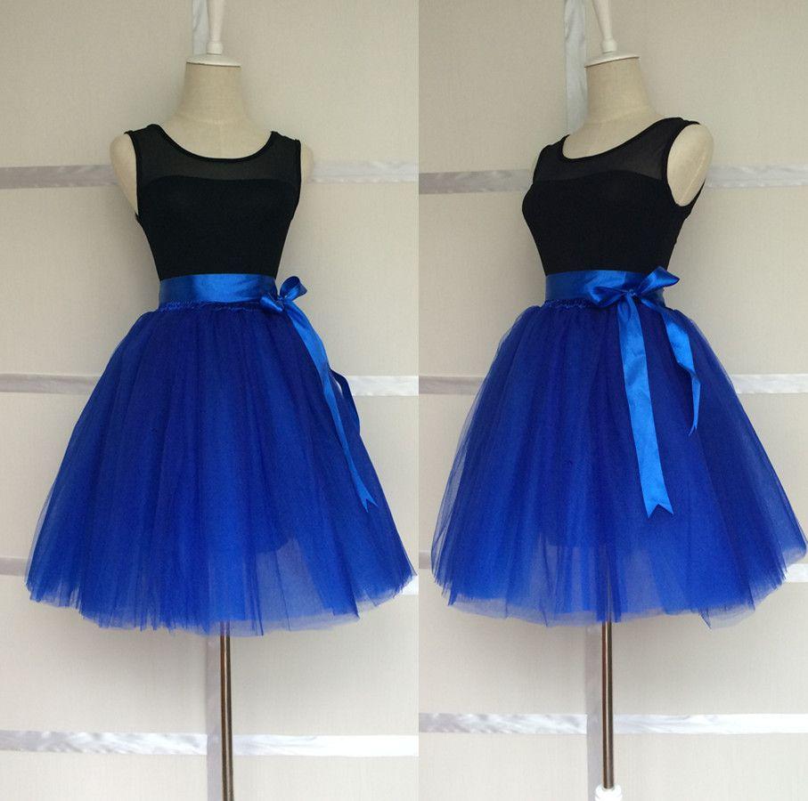 f4e889380d411 Classic Royal Blue 8 Layers Skirts Womens Princess Tutu Tulle Skirt  Bridesmaids Ball Gown Saias Femininas Jupe length 20