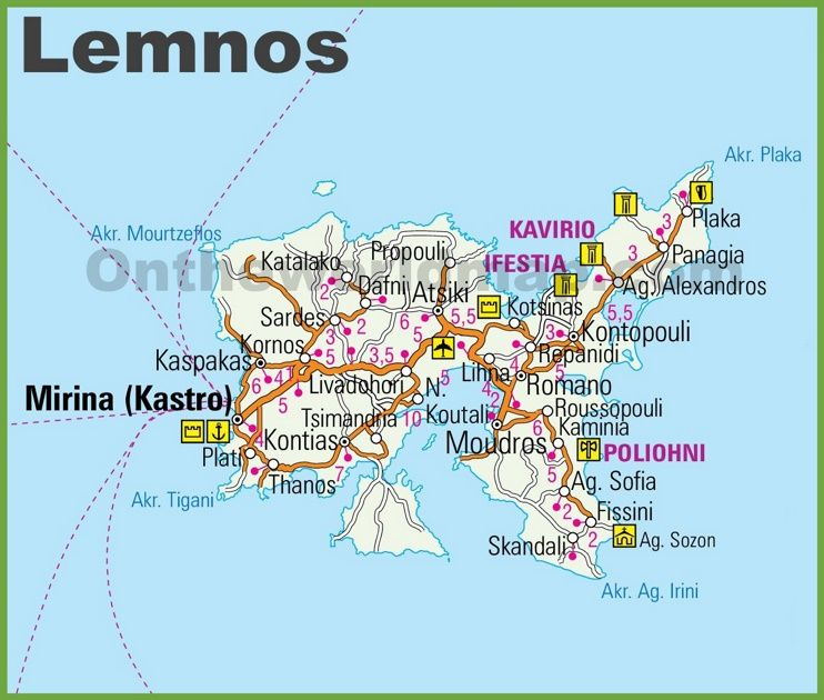 Lemnos road map Maps Pinterest Greece islands