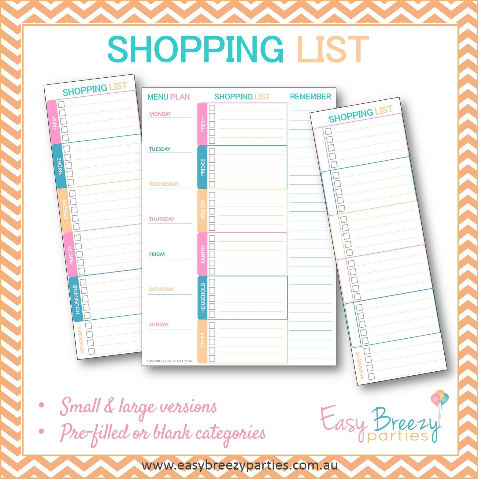 Grocery Supermarket Shopping List Printable