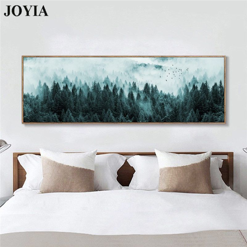 Photo of Nordic Minimalist Foggy Pine Forest Canvas Wall Art Dark Landscape Misty Trees Painting Large Living Room Bedroom Bedside Decor