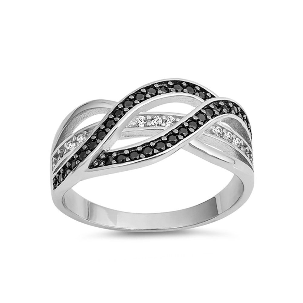 Sterling Silver .925  and Cubic Zirconia crossover x ring size 5  to  8