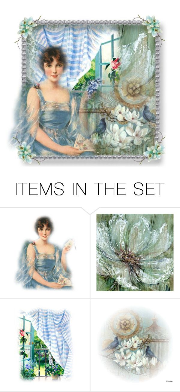 """""""Vintage Blues"""" by rainheartcreations ❤ liked on Polyvore featuring art and vintage"""