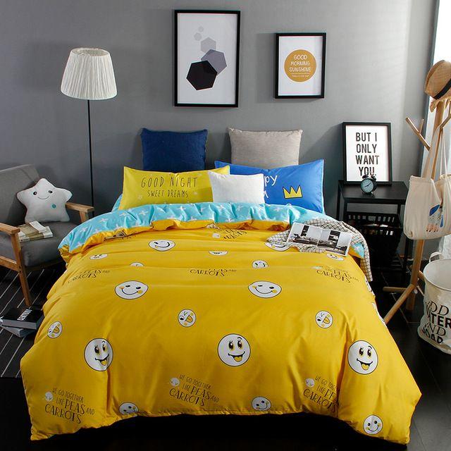 Emoji Duvet Cover Blue Bed Sheet Bedding Pillow Case Yellow Bedding Set For 4 Seasons Single Twin Do King Size Bedding Sets Twin Size Bed Sets Duvet Cover Sets