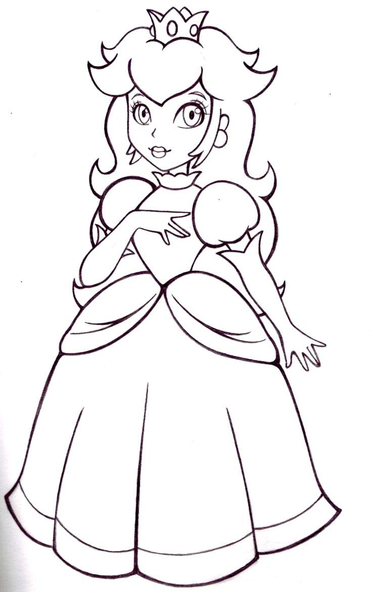 Coloriage Princesse Peach à Colorier Dessin à Imprimer