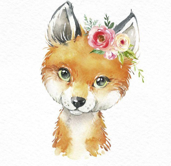 Pequeño Tejón Bobcat Fox. Acuarela animales clipart, lince, bosque, bosque, flores, niños, lindo, arte de la guardería, naturaleza, realista, amigos