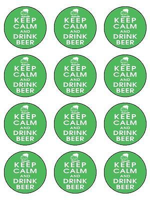 """12 x keep calm and #drink beer 2"""" edible #cupcake / cake #toppers,  View more on the LINK: http://www.zeppy.io/product/gb/2/280933642605/"""