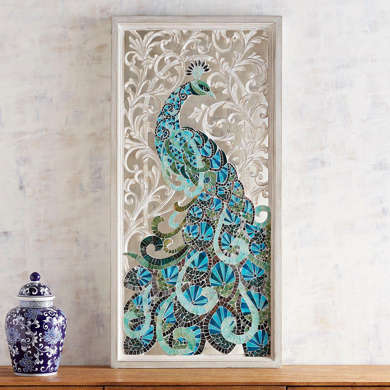 Aqua peacock mosaic wall panel in wall decor ue wall art