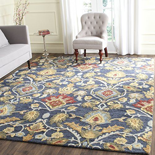 Safavieh Blossom Collection Blm402a Handmade Navy And Multi Premium Wool Area Rug 4 X 6