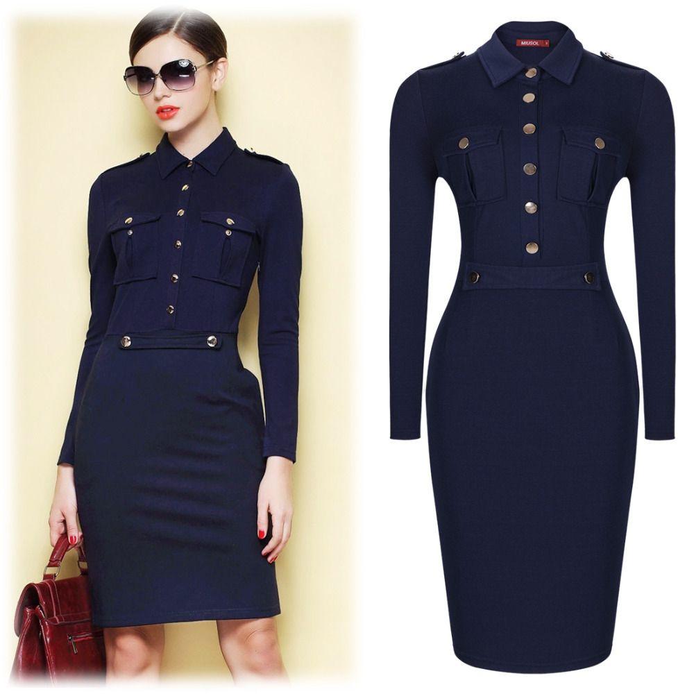 Women Summer Dark Blue Vintage Collared Elegant Long Sleeve Bodycon  Workwear Business Office Career Casual Dress Size SMXXL 3117 2211fdb6fff9
