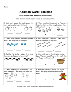 Worksheets Kindergarten Addition Word Problem 1000 images about math word addition problems on pinterest and subtraction
