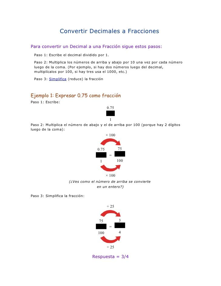 Convertir decimales a fracciones   Las matemáticas son fáciles ...