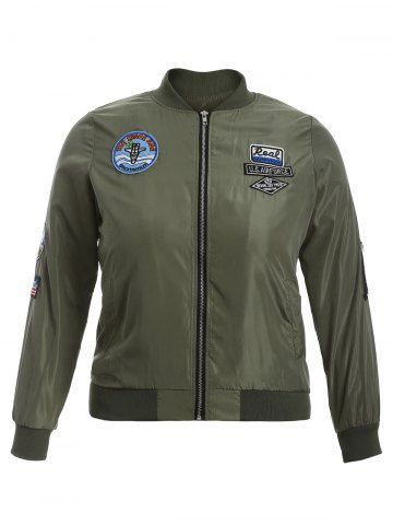 GET $50 NOW   Join RoseGal: Get YOUR $50 NOW!http://www.rosegal.com/plus-size-outerwear/badge-design-zip-up-bomber-916143.html?seid=2275071rg916143