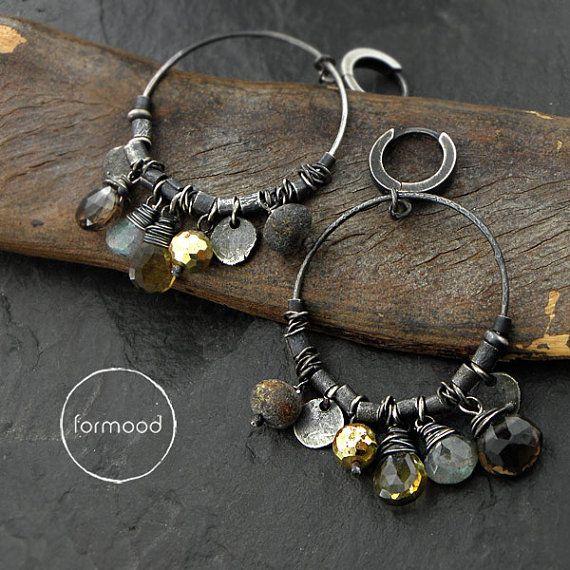 Earrings amber pyrite quartz and smoky quartz by studioformood