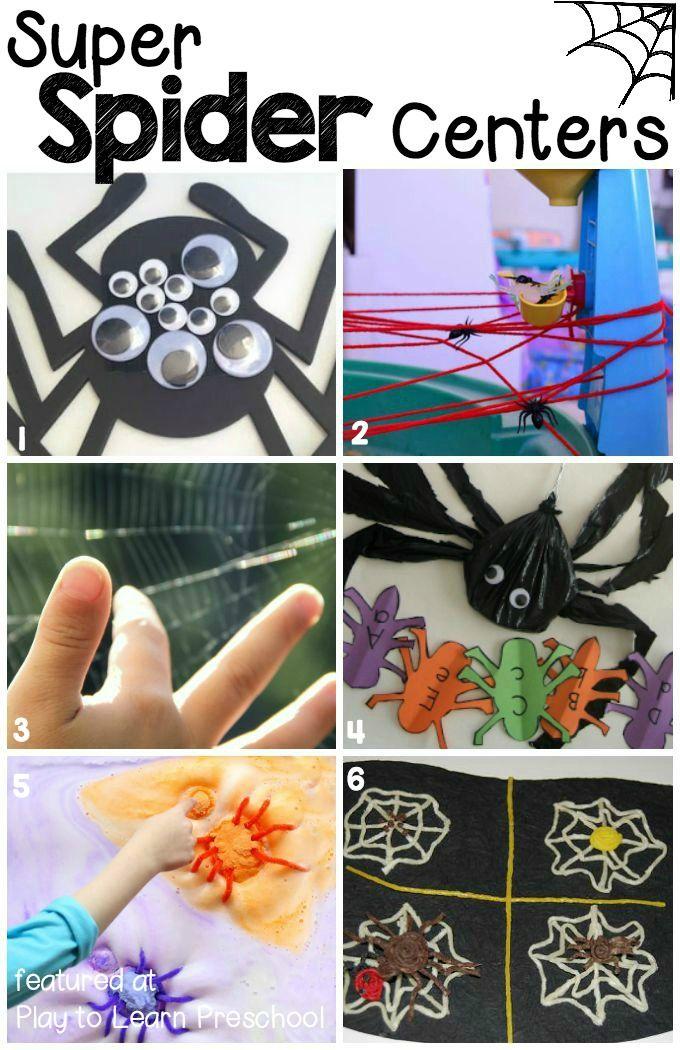 12 Super (Not Too Spooky) Spider Centers Fall preschool