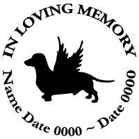 In Loving Memory Round Dachshund Dog Angel Wings Vinyl Decal Sticker With Images Dog Angel Dachshund Dog Dachshund