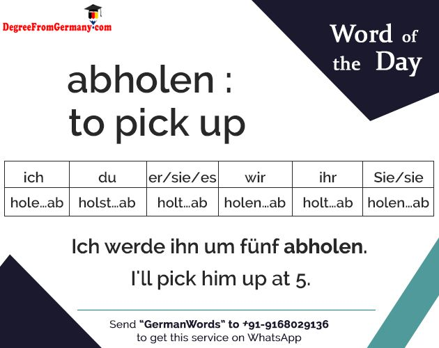 abholen : to pick up #Language #Germany #LearnGerman