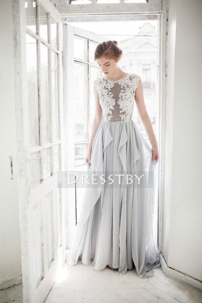 Gray A-line chiffon lace long prom dress, wedding dress