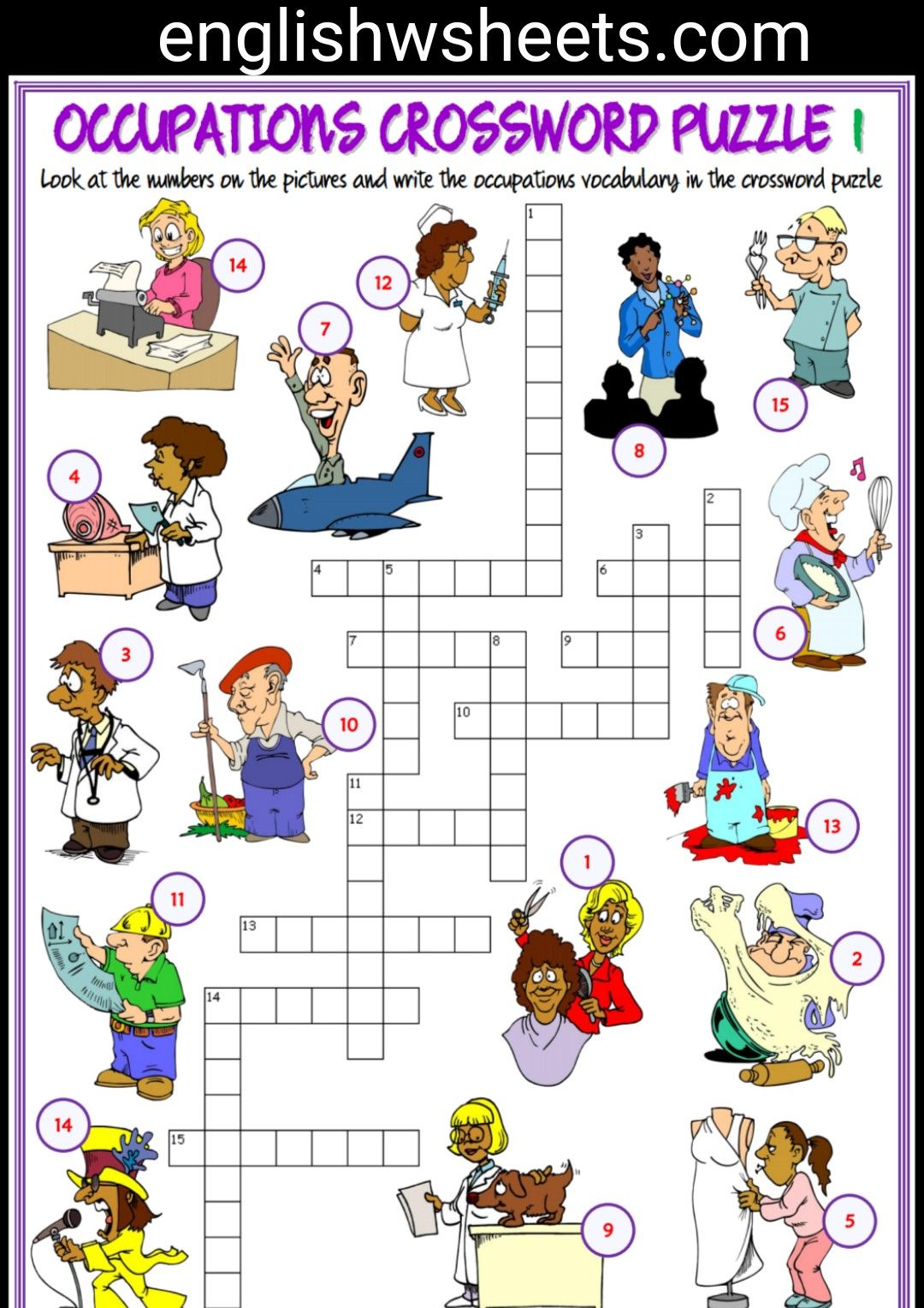 Jobs Esl Printable Crossword Puzzle Worksheets For Kids Jobs Occupations Professions Jobsesl