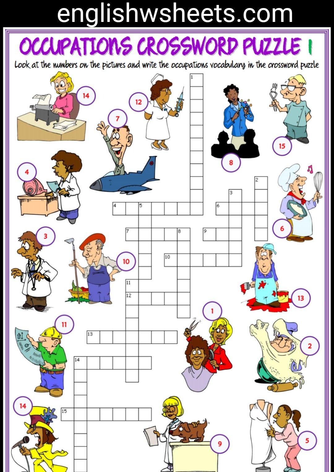 Jobs Esl Printable Crossword Puzzle Worksheets For Kids ...