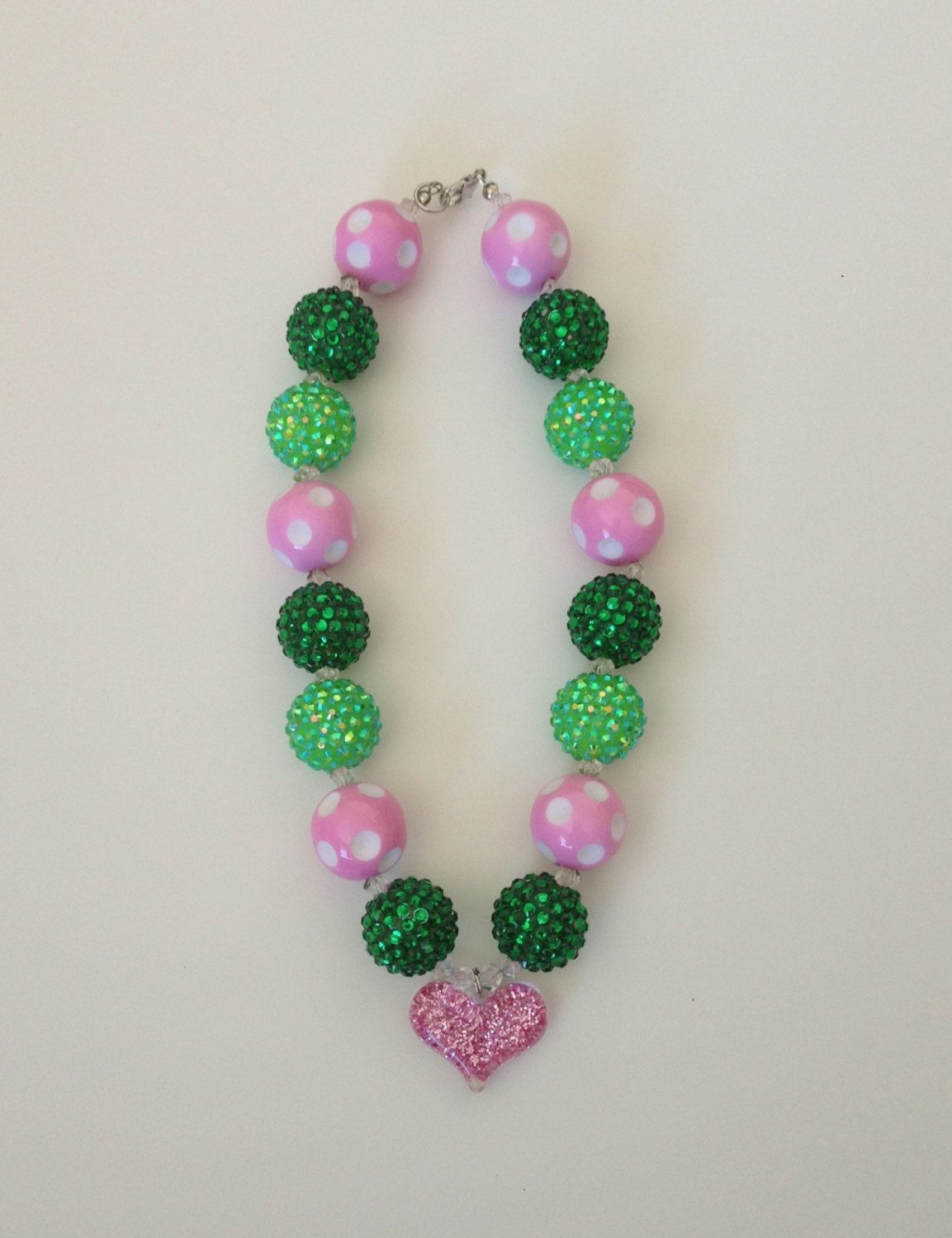 Pink And Green Sparkly Heart Necklace By