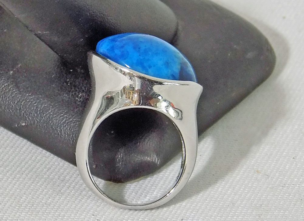 ff35222eb6bfa Blue Jasper Stone Ring LUC 925 Lucoral Silver Abstract Style Size ...