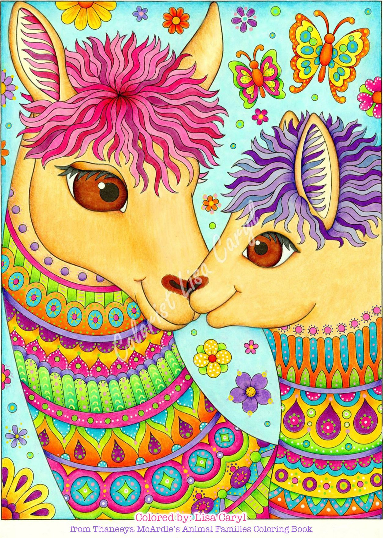 Llama mama and baby coloring page from my new Delightful ...