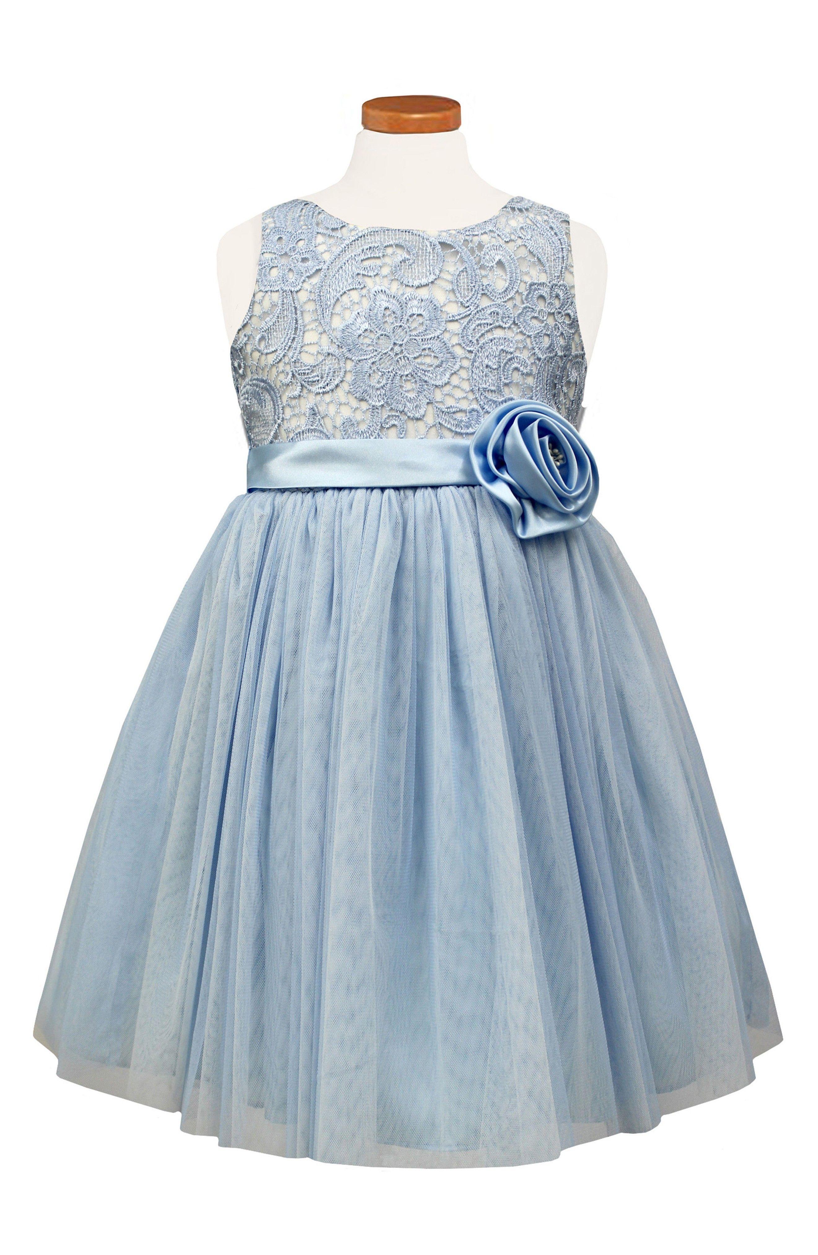 Light Blue Flower Girl Dress - Floral Lace Ballerina Dress   Blue ...