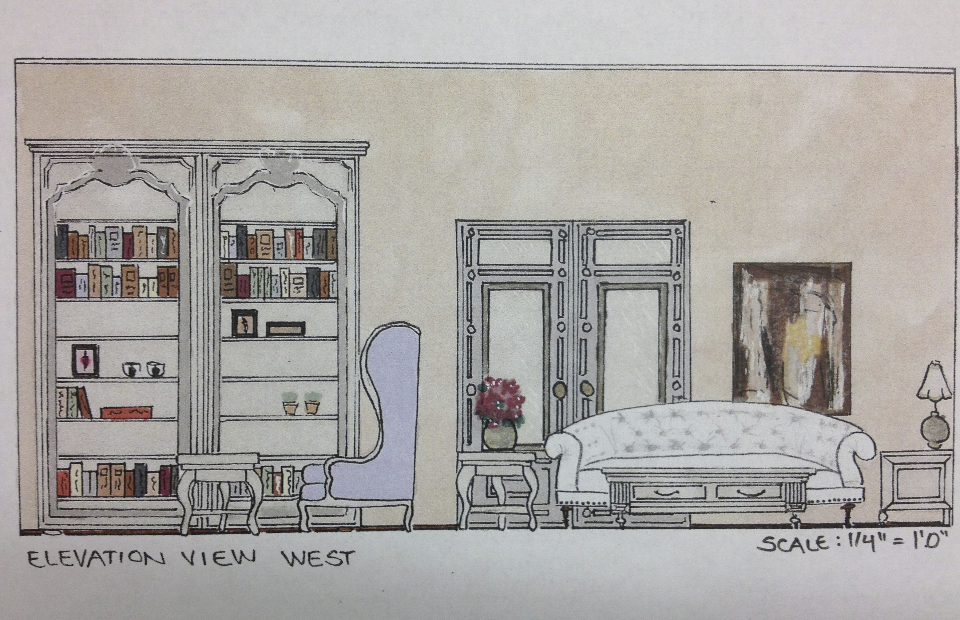 interior design sketching and space planning of a living room elevation view portfolio in