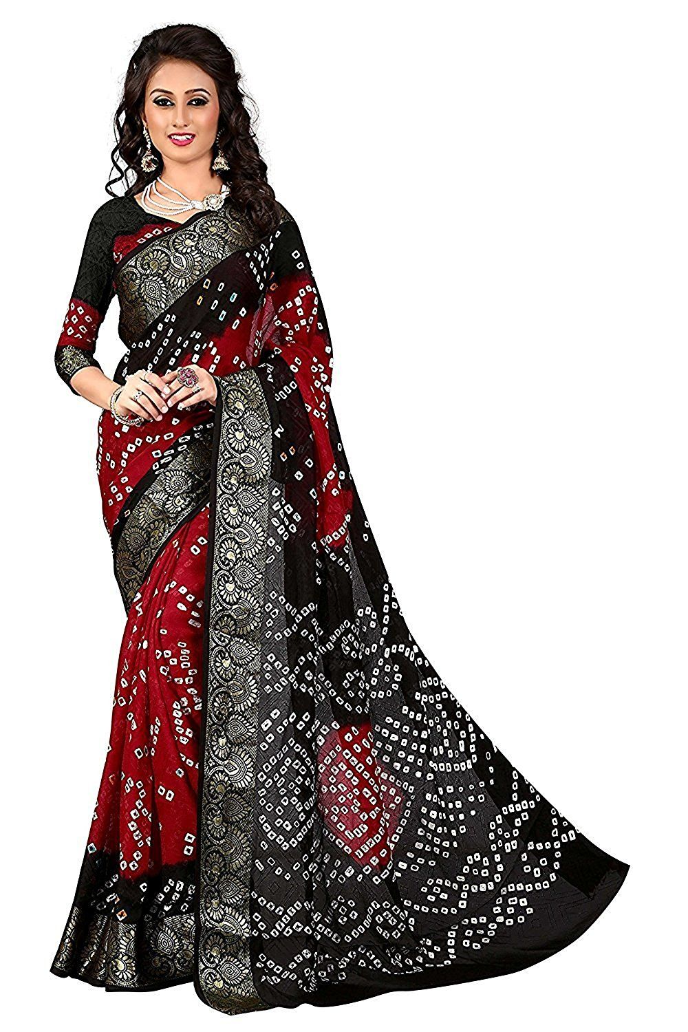 aebce96896 Fabdiamond Cotton Saree (T-761, Black Red, Free Size): Amazon.in: Clothing  & Accessories