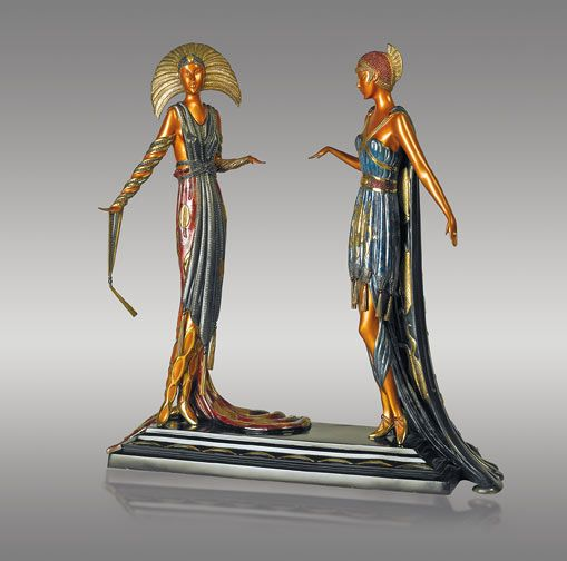 "ERTÉ  ""Duetto"" Limited-edition signed and numbered original casting. Original certificates.  Contact Mark for more information regarding this sculpture and other Erte works of art. 203-257-5881"