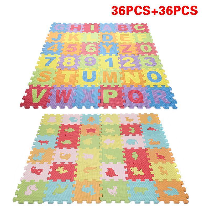 72 Pcs Puzzle Tapis Mousse Alphabet Et Chiffres Basic Animaux
