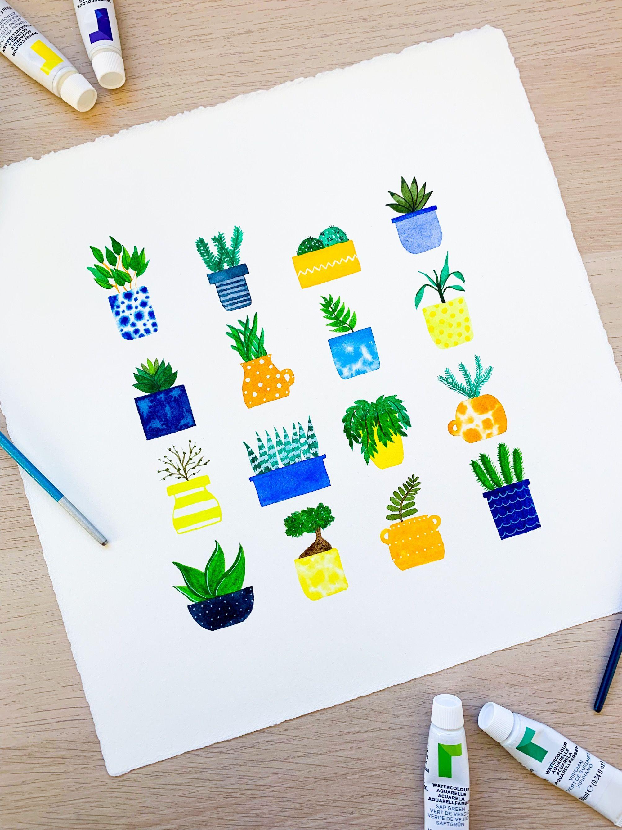 Pot Plants Original Watercolour Square Painting Indigo Blue