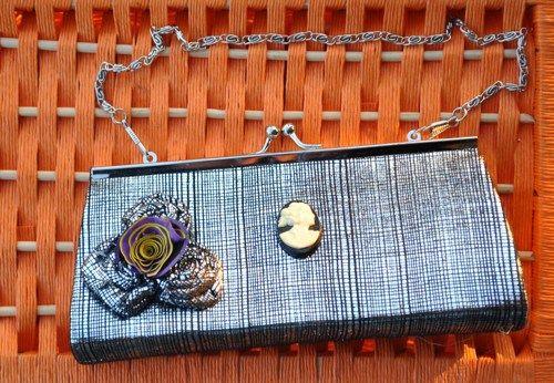 "Women's Clutch Black / Silver With Pencil Shaving Flower ""Free Gift  | GinasCornerCrafts - Bags & Purses on ArtFire"