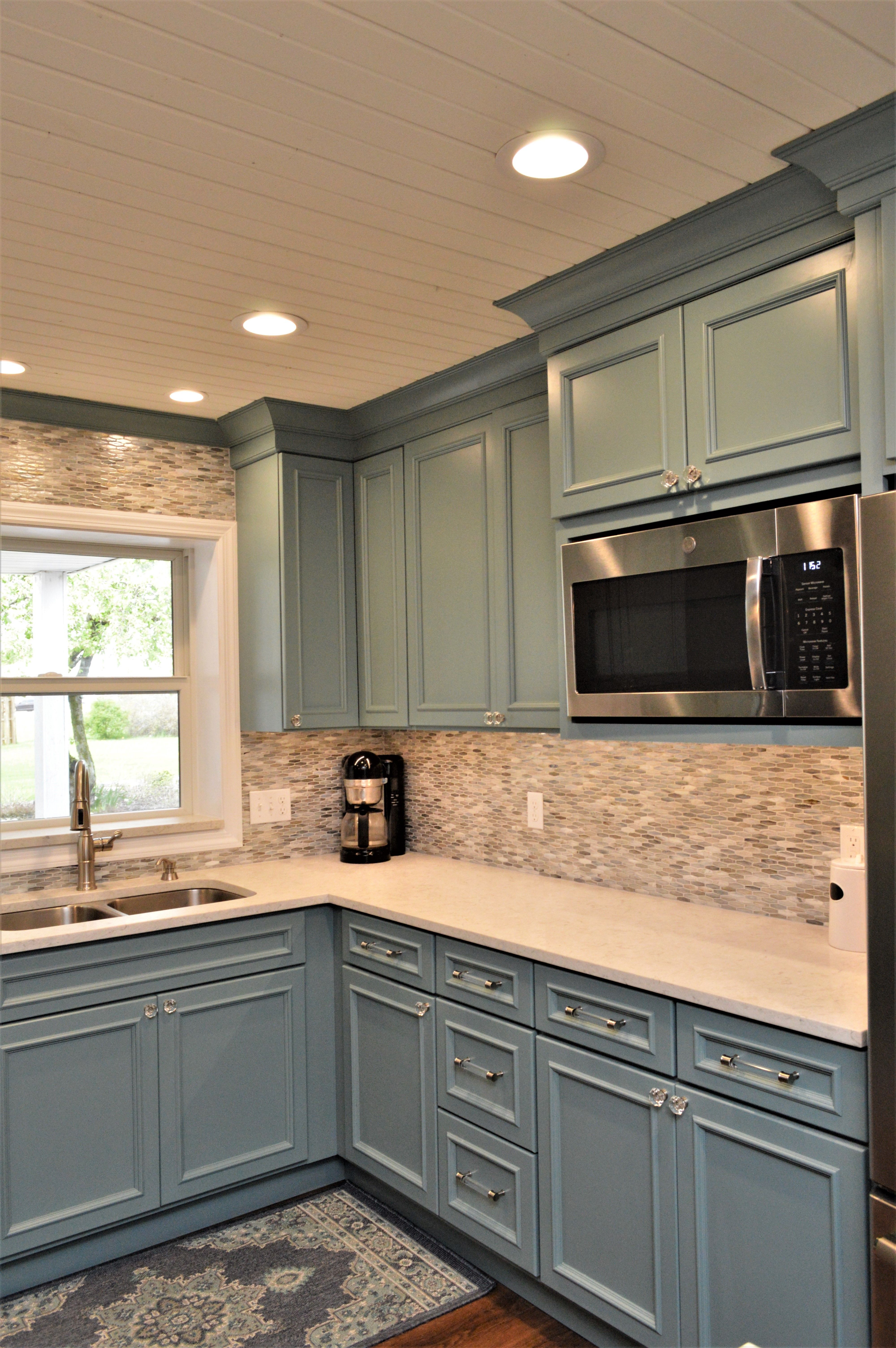 Haas Signature Collection Maple Moody Blue Finish Oxford V Door Style Home Kitchens Home Decor Kitchen Modern Kitchen
