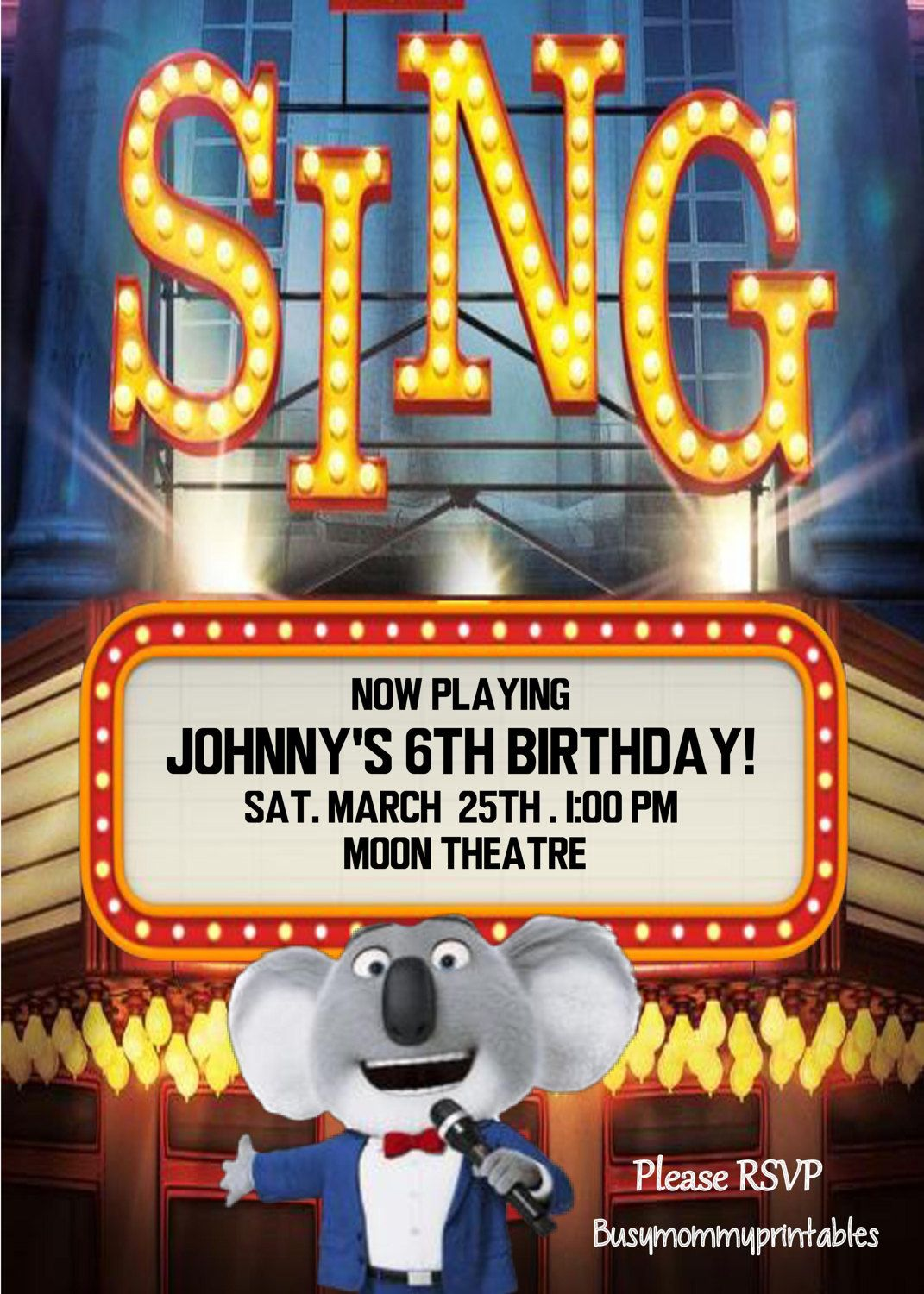 Sing Inspired Invitation Personalized Sing Birthday