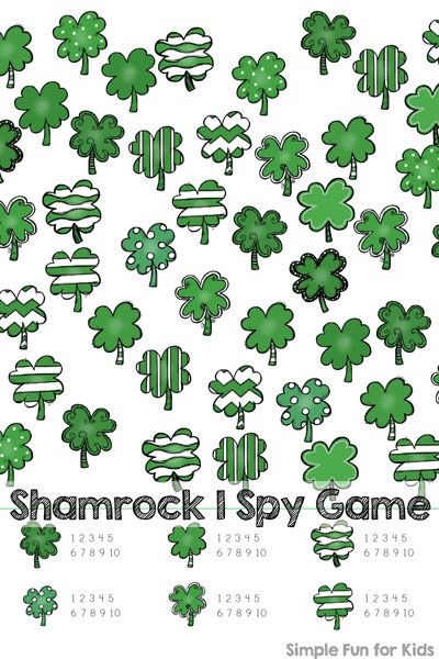 Shamrock I Spy Game Printable | Spy games, Simple math and Number ...