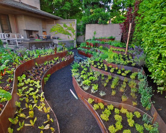 Beau Beautiful Exterior Design With Cool Garden Designs : Beautiful Contemporary  Landscape Also Unique Potted Plants Design