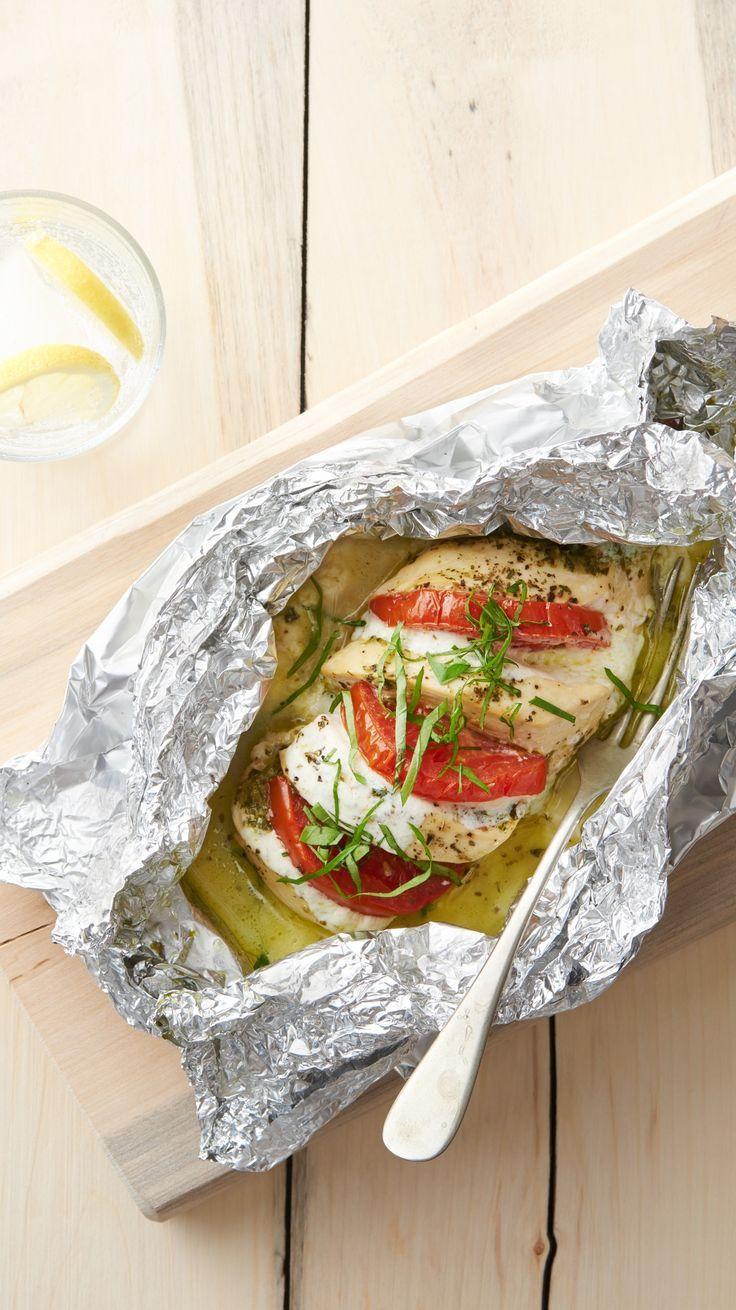 Caprese chicken foil packs Dinner Recipes   - foil pack dinners -