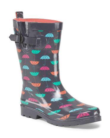 Umbrella Print Rain Boot - TJ Maxx